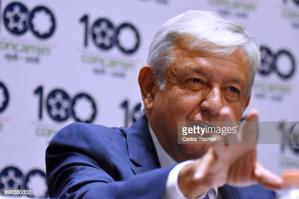Newly elected President of Mexico Andres Manuel Lopez Obrador speaks during a press conference after a meeting between newly elected President of...