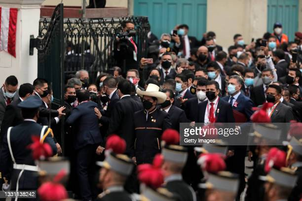 Newly elected President of Peru Pedro Castillo arrives at Congress ahead of the presidential inauguration on July 28, 2021 in Lima, Peru. Castillo of...