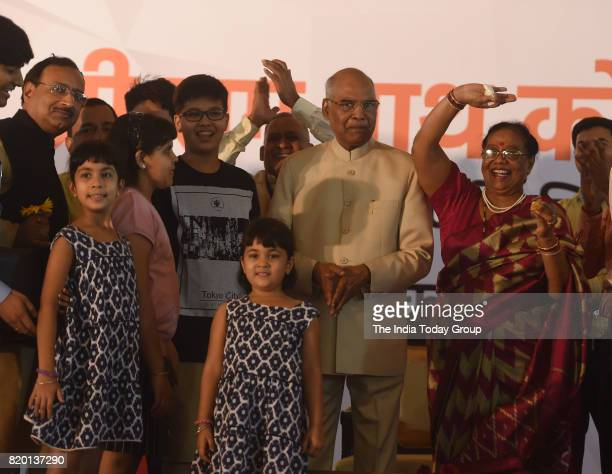 Newly elected president Ram Nath Kovind with his family members during a felicitation programme in New Delhi
