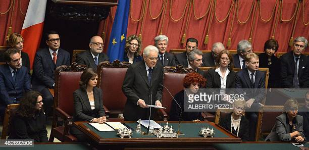 Newly elected President, Sergio Mattarella , delivers a speech next to the president of the Parliament Laura Boldrini and the vice-president of the...
