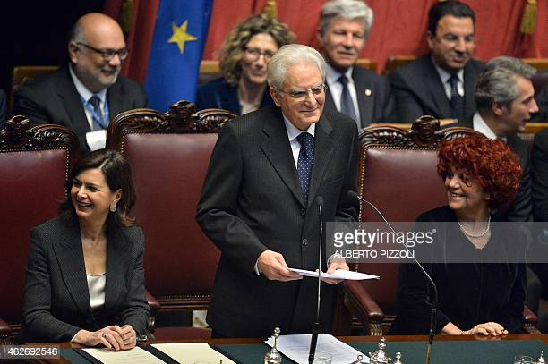 Newly elected President Sergio Mattarella delivers a speech next to the president of the Parliament Laura Boldrini and the vicepresident of the...