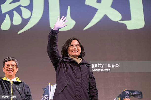 DPP HEADQUARTERS TAIPEI TAIWAN Newly elected President Tsai Ing Wen waves to the crowd that have gathered in central Taipei to celebrate her victory...
