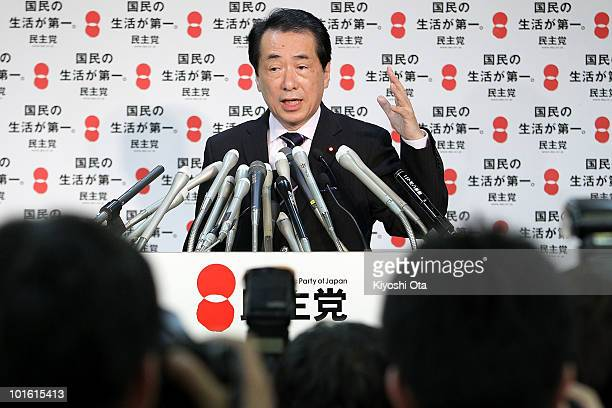 Newly elected Prime Minister and President of the ruling Democratic Party of Japan Naoto Kan speaks during a press conference at the party's...