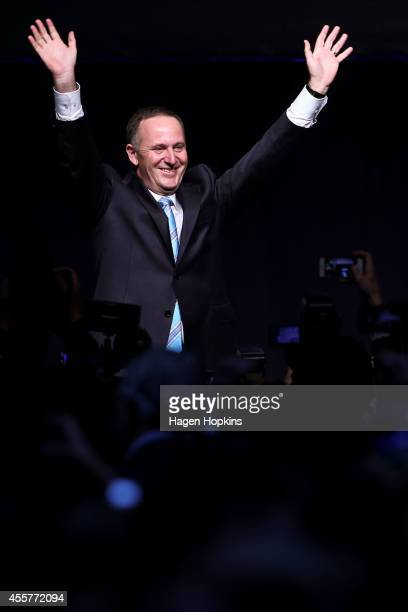 Newly elected Prime Minister John Key arrives on stage to deliver his victory speech at Viaduct Events Centre on September 20 2014 in Auckland New...