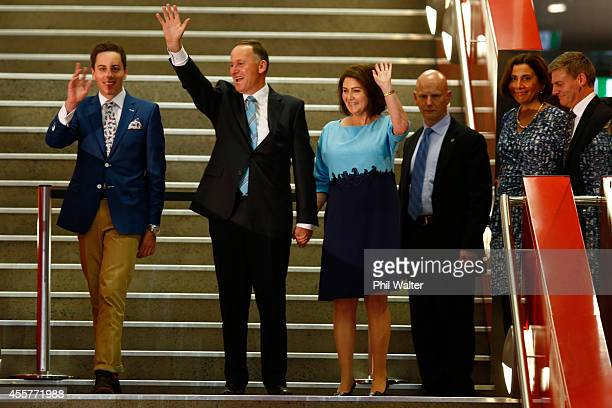 Newly elected Prime Minister John Key arrives with his wife Bronagh Key and son Max Key to deliver his victory speech at Viaduct Events Centre on...