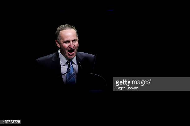 Newly elected Prime Minister John Key delivers his victory speech at Viaduct Events Centre on September 20 2014 in Auckland New Zealand National...
