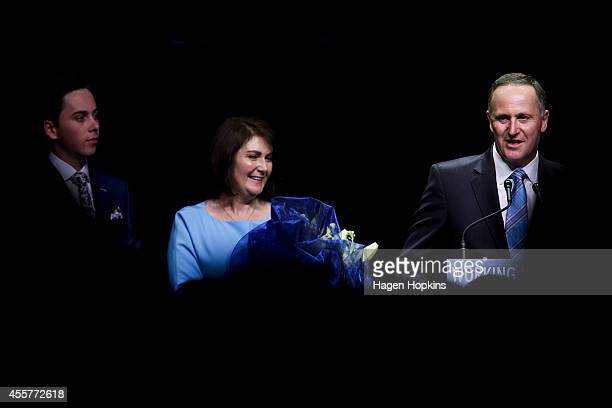Newly elected Prime Minister John Key delivers his victory speech while party son Max Key and wife Bronagh Key look on at Viaduct Events Centre on...