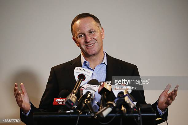 Newly elected Prime Minister John Key speaks to the media on September 21 2014 in Auckland New Zealand Last night National Party leader John Key was...
