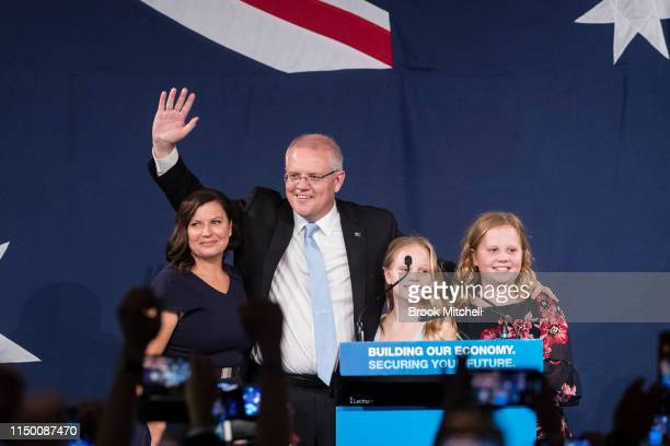 Newly elected Prime Minister of Australia Scott Morrison joined by wife Jenny and daughters Lilly and Abbey speaks at the Liberal Party reception at...