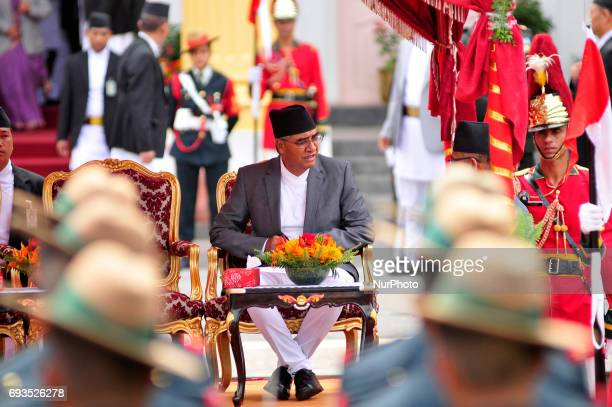 Newly elected Prime Minister of Nepal Sher Bahadur Deuba arrive for taking an oath at the Sheetal Niwas Kathmandu Nepal on Wednesday June 07 2017 The...