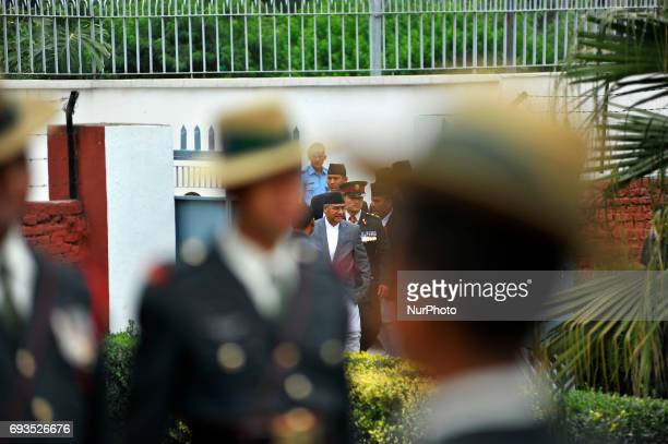 Newly elected Prime Minister of Nepal Sher Bahadur Deuba arrives to pay tribute to the martyrs at their memorial in Lainchaur Kathmandu Nepal on...