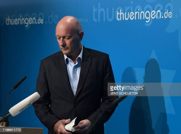 Newly elected Prime Minister of Thuringia Thomas Kemmerich of the Free Democratic Party addresses a press conference at the State Chancellery in...