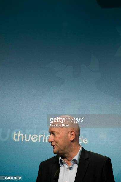 Newly elected Prime Minister of Thuringia Thomas Kemmerich of the Free Democratic Party addresses a press conference on February 6 2020 in Erfurt...