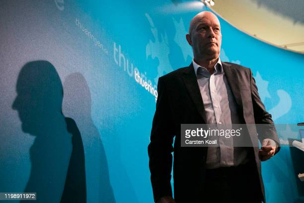 Newly elected Prime Minister of Thuringia Thomas Kemmerich of the Free Democratic Party leaves a press conference on February 6 2020 in Erfurt...