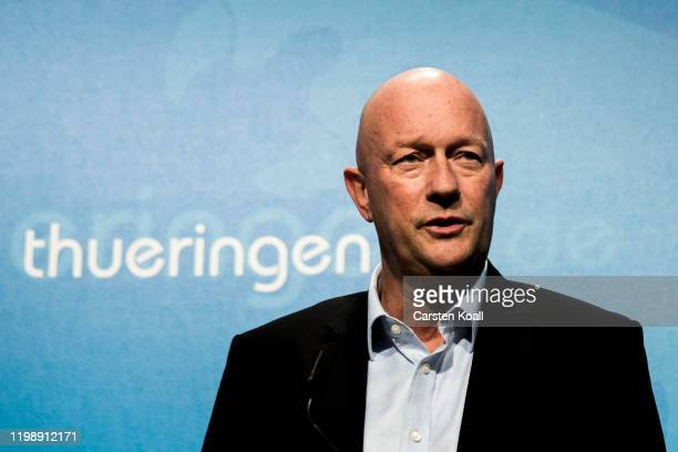 Newly elected Prime Minister of Thuringia Thomas Kemmerich of the Free Democratic Party FDP speaks during a press conference on February 6 2020 in...