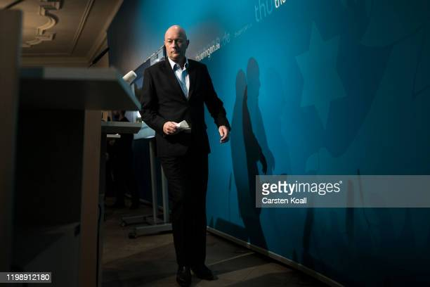 Newly elected Prime Minister of Thuringia Thomas Kemmerich of the Free Democratic Party FDP arrives to a press conference on February 6 2020 in...