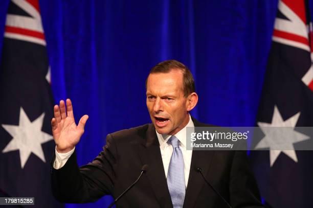 Newly elected Prime Minister Tony Abbott speaks to the crowd on September 7 2013 in Sydney Australia LiberalNational Coalition leader Tony Abbott was...
