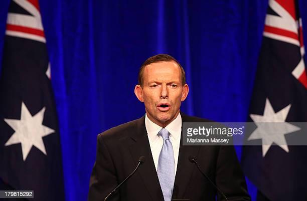 Newly elected Prime Minister Tony Abbott speaks to the crowd on September 7, 2013 in Sydney, Australia. Liberal-National Coalition leader Tony Abbott...