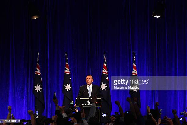 Newly elected Prime Minister Tony Abbott speaks to the crowd on September 7 2013 in Sydney Australia LiberalNational Coalition leader Tony Abbott was...
