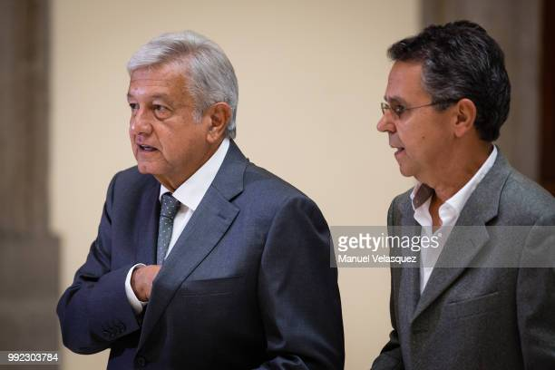 Newly elected Prisident of Mexico Andres Manuel Lopez Obrador and Cesar Yañez Communication Coordinator of his campaing prior to the press conference...