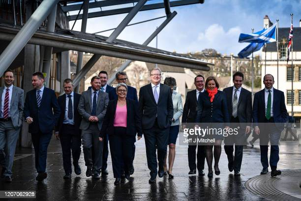 Newly elected Scottish Conservative leader Jackson Carlaw unveils the party's new shadow cabinet to take on the SNP at the Scottish Parliament on...