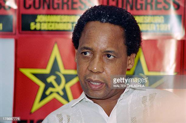 Newly elected secretary general of South African Communist Party Chris Hani speaks at a press conference on the third day of the first SACP legal...