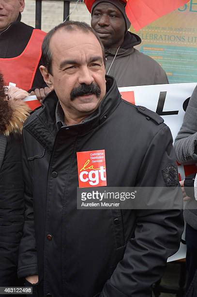Newly elected Secretary General of the CGT the French General Confederation of Labour Philippe Martinez attends the protest against the Macron Law at...