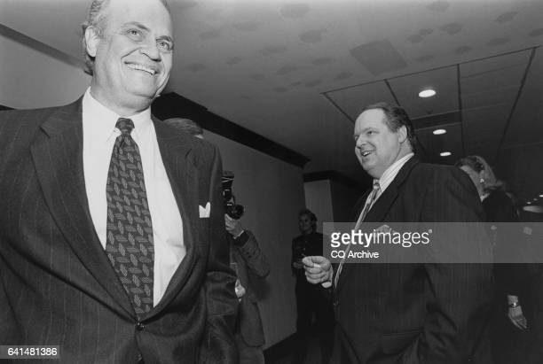 Newly elected Senator Fred Thompson RTenn and talkshow host Rush Limbaugh after a Saturday night dinner at Camden Yards 1994