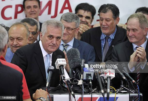 Newly elected Serbian President Tomislav Nikolic, leader of Serbian Progressive Party , arrives at his party headquarters on May 20 in Belgrade....