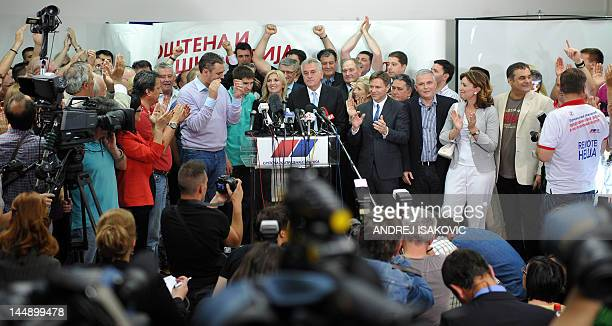 Newly elected Serbian President Tomislav Nikolic, leader of Serbian Progressive Party , gives a statement to the media at his party headquarters on...