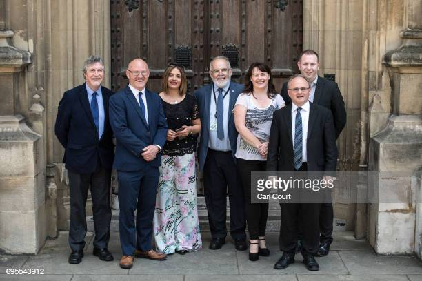 Newly elected Sinn Fein MPs Mickey Brady Paul Maskey Elisha McCallion Francie Molloy Michelle Gildernew Barry McElduff and Chris Hazzard pose for a...