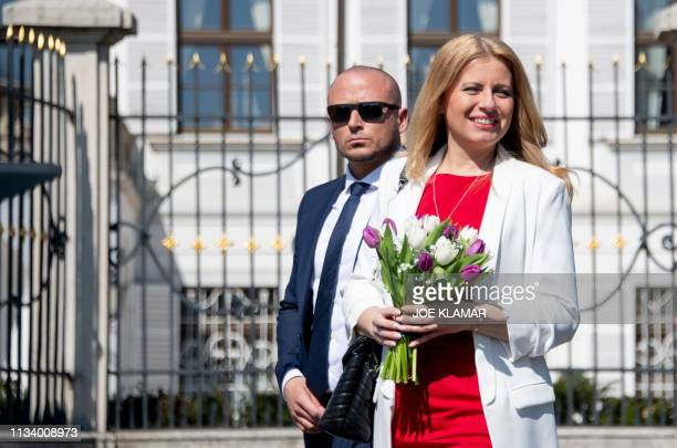 Newly elected Slovakia's President elect Zuzana Caputova arrives for a interview with a Czech television journalist of CT1 chanel in the front of the...