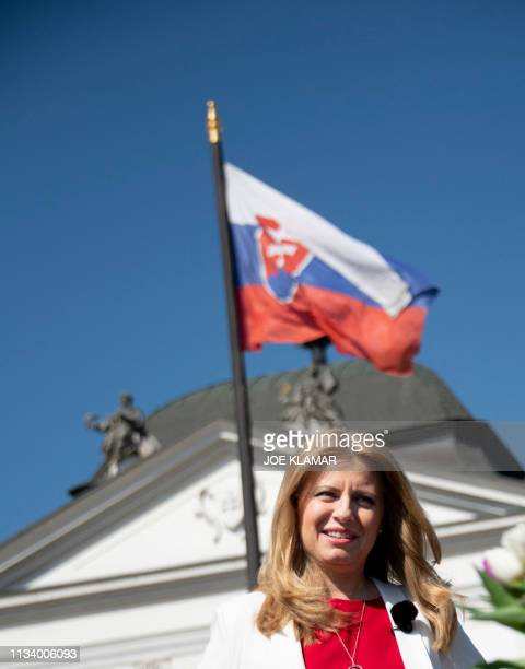 Newly elected Slovakia's President elect Zuzana Caputova prepares for her interview for Czech television CT1 in the front of the Presidential palace...
