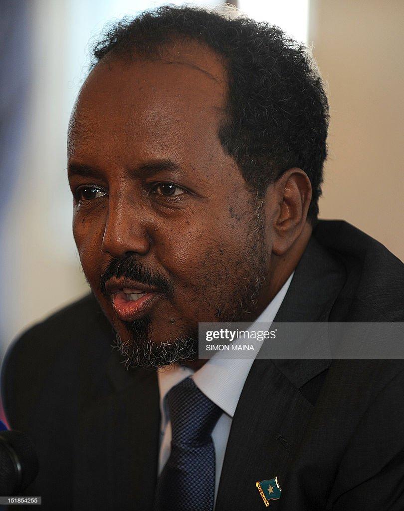 Newly elected Somalia president Hasan Sheikh Mahmud speaks to the