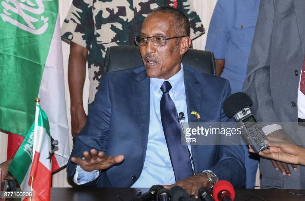 Newly elected Somaliland's President Muse Bihi Abdi from the ruling Kulmiye Party speaks during press conference in Hargeisa Somaliland on November...