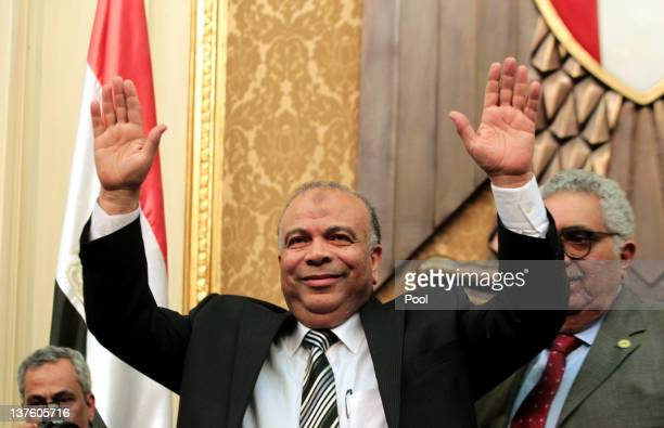 Newly elected speaker of the Egyptian parliament Saad alKatatni of the Muslim Brotherhood acknowledges the applause during the first Egyptian...