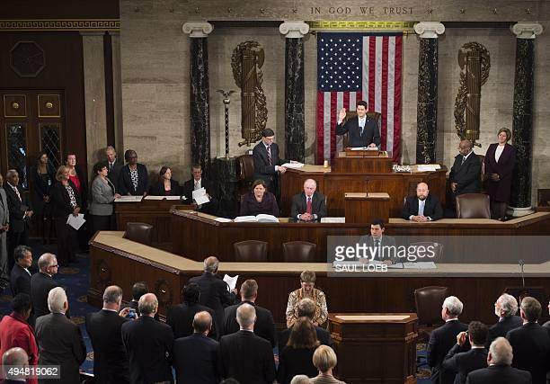 Newly elected Speaker of the House Paul Ryan Republican of Wisconsin takes the oath after being elected Speaker in the House Chamber at the US...
