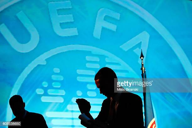 Newly elected UEFA President Aleksander Ceferin at the 12th Extraordinary UEFA congress in in Athens Greece 14 September 2016