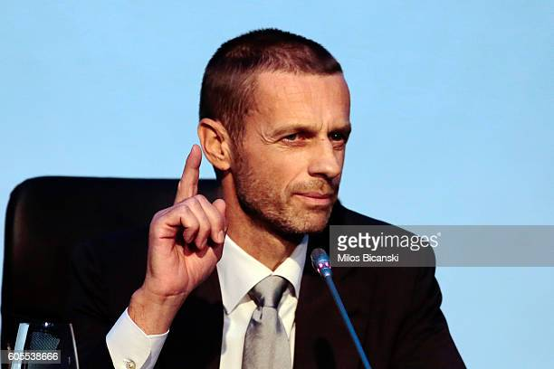 Newly elected UEFA President Aleksander Ceferin during a press conference after the 12th Extraordinary UEFA congress in in Athens Greece 14 September...