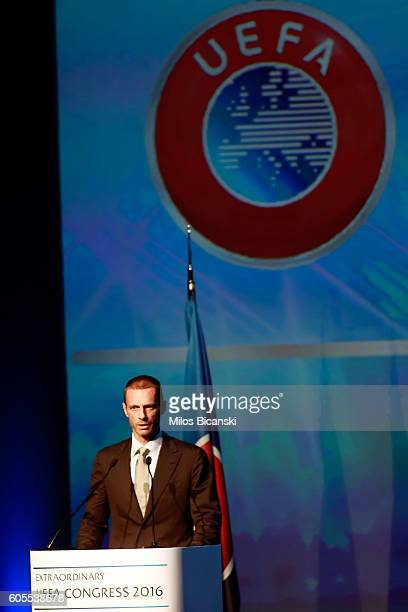 Newly elected UEFA President Aleksander Ceferin give a speech at the 12th Extraordinary UEFA congress in in Athens Greece 14 September 2016