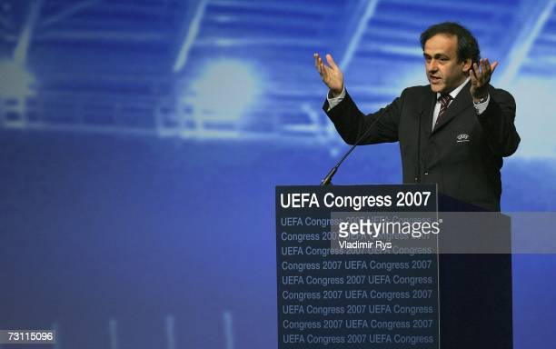 Newly elected UEFA President and former French football star Michel Platini delivers a speech during the second day of the 2007 UEFA Congress at the...