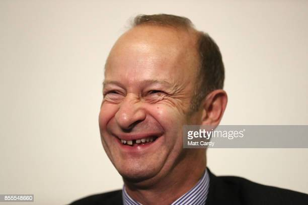Newly elected UKIP leader Henry Bolton laughs after speaking at their autumn conference on September 29 2017 in Torquay England Bolton is the UKIP...