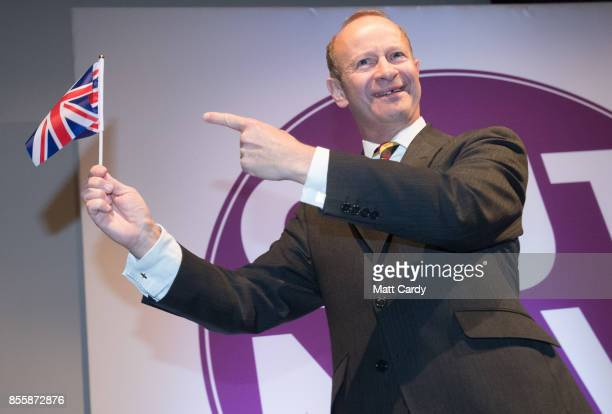 Newly elected UKIP leader Henry Bolton makes his leader's speech at their autumn conference being held at the Riviera International Centre on...