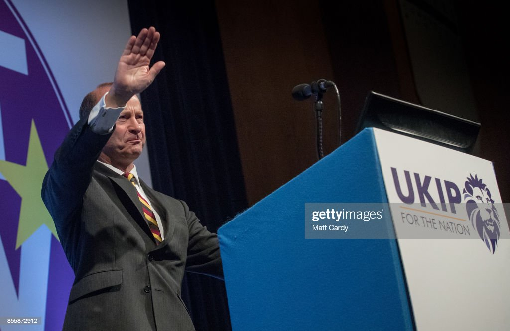 Newly elected UKIP leader Henry Bolton makes his leader's speech at their autumn conference being held at the Riviera International Centre on September 30, 2017 in Torquay, England. Bolton is the UKIP party's fourth leader in just over a year.