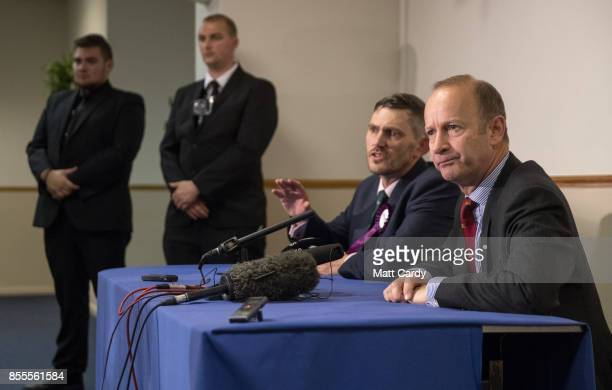 Newly elected UKIP leader Henry Bolton speaks a press conference at their autumn conference on September 29 2017 in Torquay England Bolton is the...