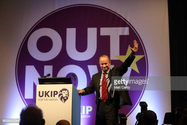 Newly elected UKIP leader Henry Bolton speaks at their autumn conference on September 29 2017 in Torquay England Bolton is the UKIP party's fourth...