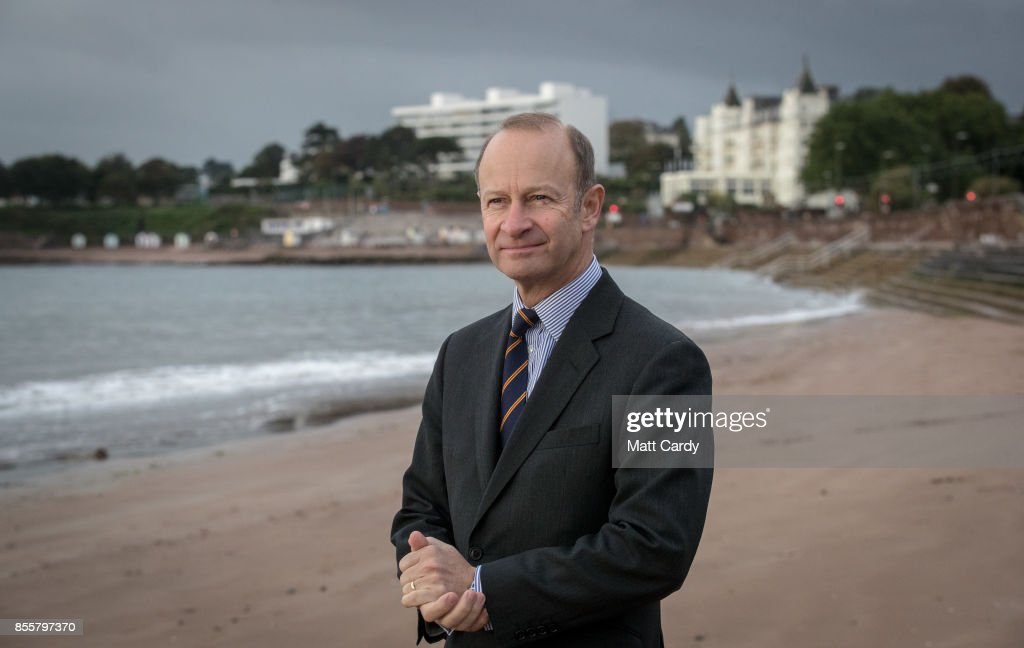 Newly elected UKIP leader Henry Bolton stands on the beach following morning TV interviews at their autumn conference on September 30, 2017 in Torquay, England. Bolton is the UKIP party's fourth leader in just over a year.