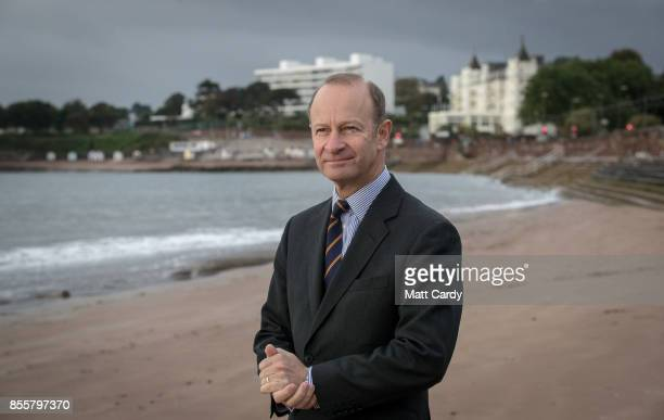Newly elected UKIP leader Henry Bolton stands on the beach following morning TV interviews at their autumn conference on September 30 2017 in Torquay...