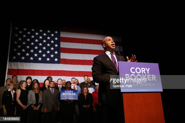 Newly elected US Senator Cory Booker speaks after winning a special election on October 16 2013 in Newark New Jersey Booker the current mayor of...