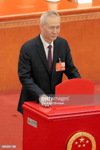 Newly elected Vice Premier Liu He votes during the seventh plenary session of the 13th National People's Congress at the Great Hall of the People on...